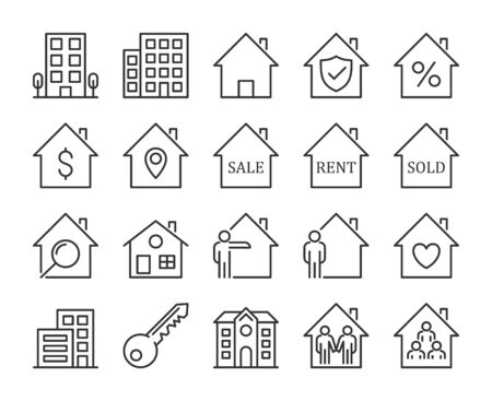 Real Estate icons. Real Estate and Homes line icon set.