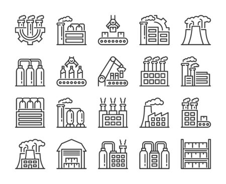 Factories icons. Factory and Industry line icon set.