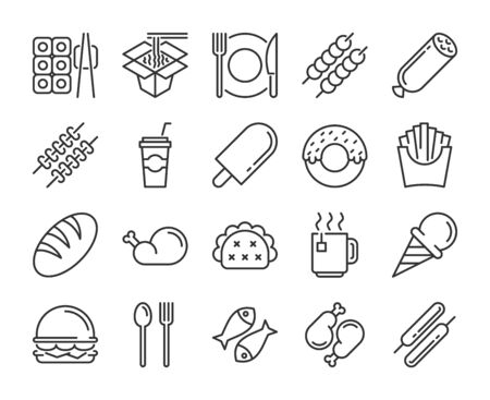 Food icons. Food and Drink line icon set.