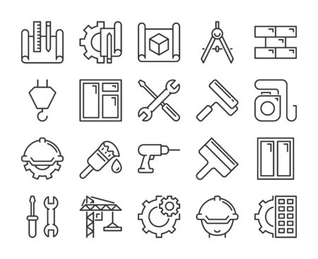 Construction icons. Construction and Home Repair line icon set.