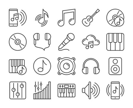 Music icons. Sound and Music line icon set. Vector illustration. Editable stroke.