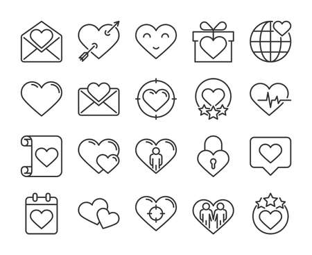 Heart icons. Heart touching and Romantic messages line icon set. Vector illustration. Editable stroke.
