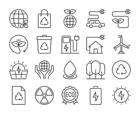 Ecology icons. Ecology and environmental protection line icon set. Vector illustration. Editable stroke.