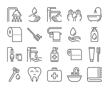 Hygiene icons. Hygiene and healthy lifestyle line icon set. Vector illustration. Editable stroke.  イラスト・ベクター素材