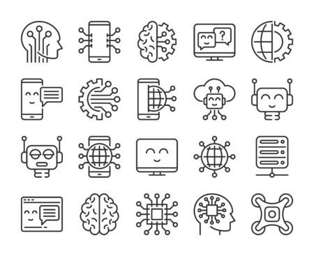 Artificial intelligence icons. Innovation technology and artificial intelligence line icon set. Editable stroke.  イラスト・ベクター素材