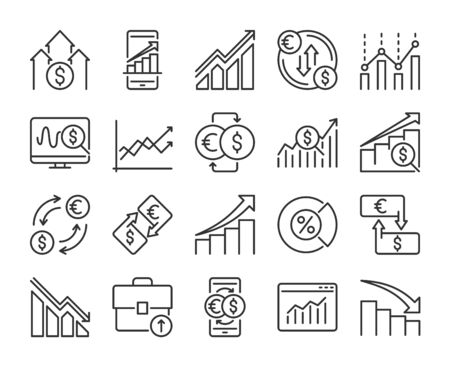 Stock Quotes icons. Stock quotes, charts and data analysis line icon set. Editable stroke.