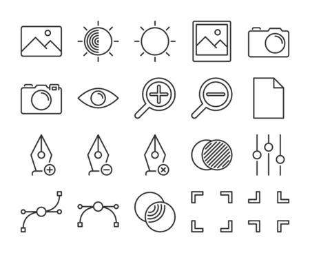 Image Editing icons. Graphic design and photo editing line icon set. Vector illustration. Editable stroke  イラスト・ベクター素材