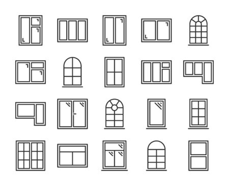 Windows icons. Windows frames line icon set. Vector illustration. Editable stroke.  イラスト・ベクター素材