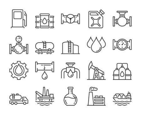 Fuel icons. Oil and gas line icon set. Vector illustration. Editable stroke.  イラスト・ベクター素材