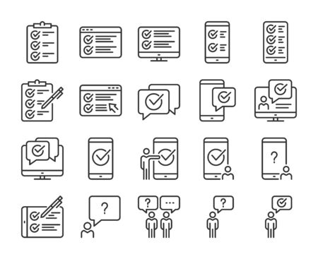 Survey icons. Survey and Questionnaire line icon set. Vector illustration. Editable stroke.  イラスト・ベクター素材