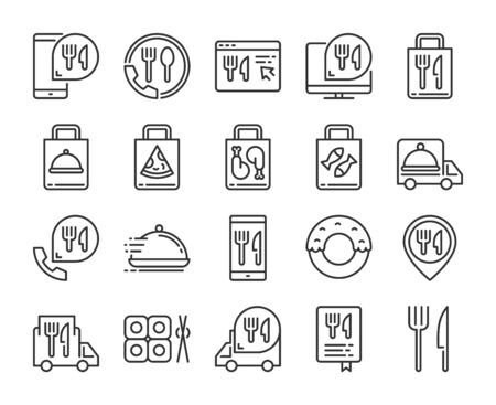 Food Delivery icons. Food Delivery Service line icon set. Vector illustration. Editable stroke.  イラスト・ベクター素材