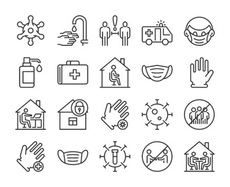 Virus Prevention icons. Preventing Spread of Infection line icon set. Vector illustration. Editable stroke.