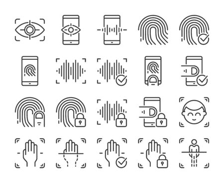 Biometric icons. Biometric verification and Identification line icon set. Vector illustration. Editable stroke.