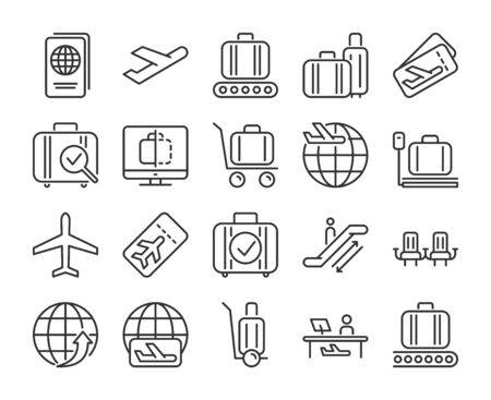 Airport icons. Airport and Air Travel line icon set. Vector illustration. Editable stroke.  イラスト・ベクター素材
