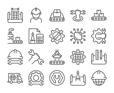Engineering icons. Engineering and Manufacturing line icon set. Vector illustration. Editable stroke.