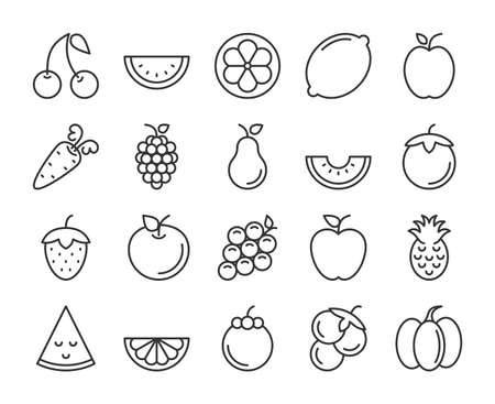 Fruits icons. Fruits and Vegetables line icon set. Vector illustration. Editable stroke. Stock Illustratie