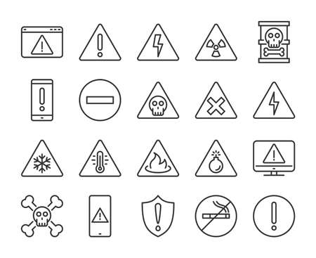 Warning icons. Warnings line icon set. Vector illustration. Editable stroke. Stock Illustratie
