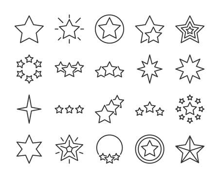 Stars icons. Stars line icon set. Vector illustration. Editable stroke. Stock Illustratie
