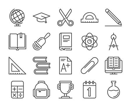 School supplies icons. Back to school line icon set. Vector illustration. Editable stroke. Stock Illustratie