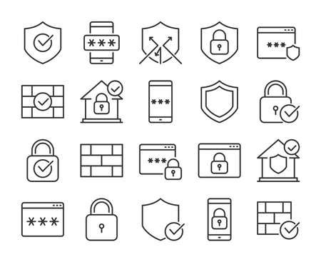 Defense icons. Defense and Security line icon set. Vector illustration. Editable stroke.
