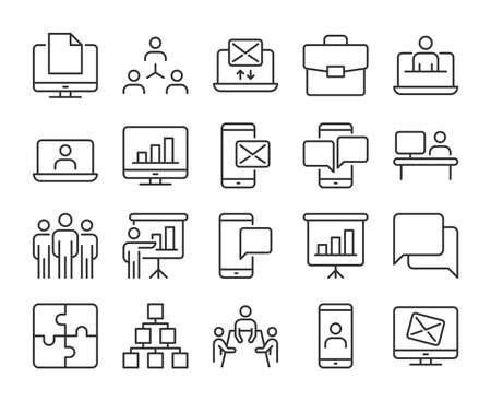 Office icons. Office workflow line icon set. Vector illustration. Editable stroke.