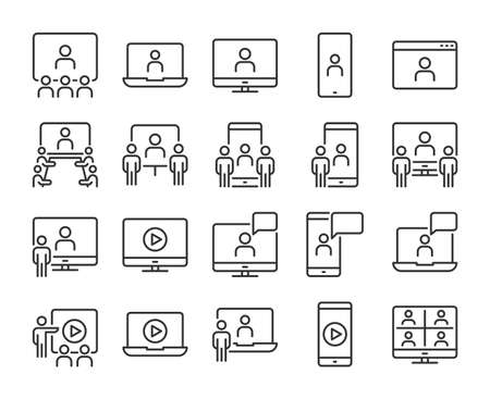 Online meeting icon. Video conference line icons set. Editable stroke.