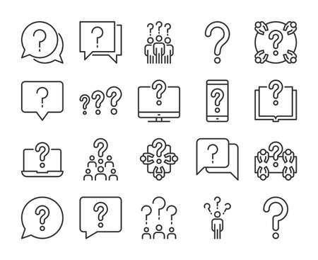 Question icon. Searching of answers to questions line icons set. Editable stroke. Stock Illustratie