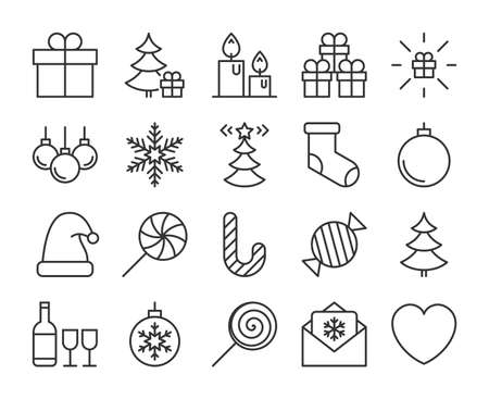 Merry Christmas icon. Merry Christmas and Happy New Year line icons set. Editable stroke. Stock Illustratie