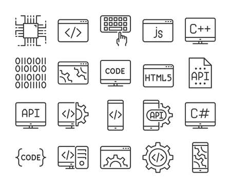 Programming icon. Development and Programming line icons set. Editable stroke. Stock Illustratie
