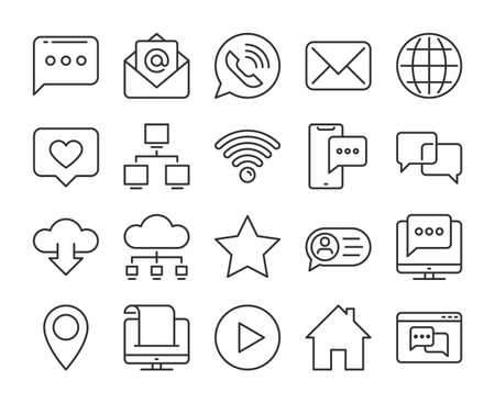 Web icon. Internet communication line icons set. Editable stroke. Stock Illustratie