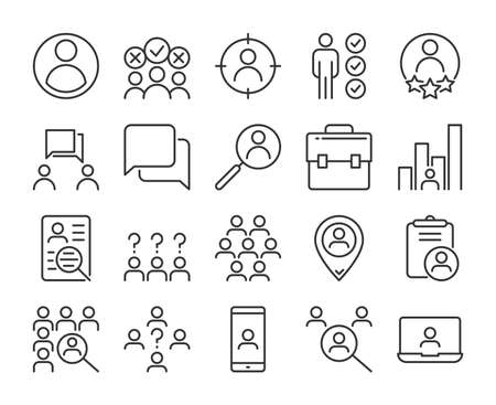 Recruitment icon. Recruiting New Staff line icons set. Editable stroke.