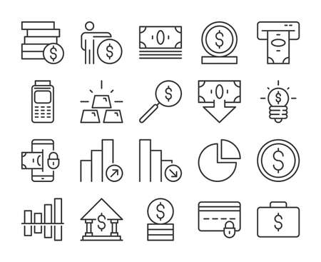 Money icon. Business and Finance line icons set. Editable stroke.
