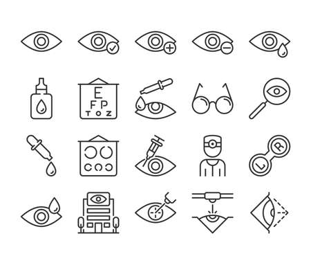 Eye doctor icon. Eye care line icons set. Editable stroke. Stock Illustratie