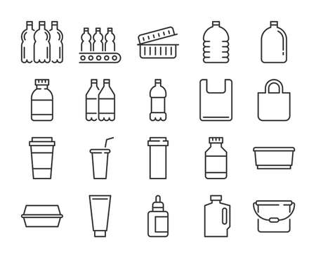 Plastic packaging icon. Plastic industry line icons set. Editable stroke. Stock Illustratie