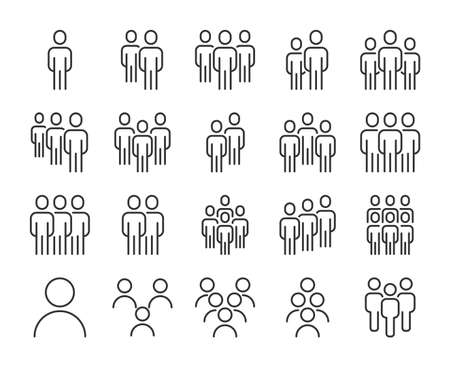 People icon. Group of people line icons set. Editable stroke.