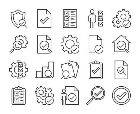Inspection icon. Inspection and Testing line icons set. Editable stroke.