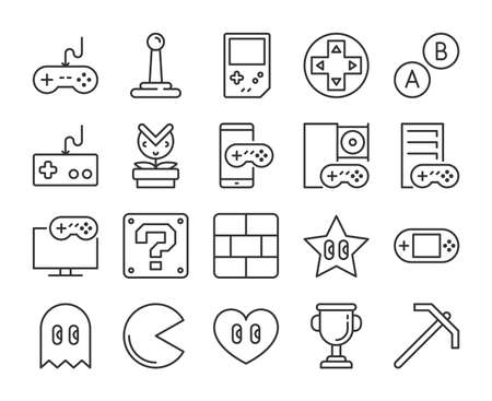 Video game icon. Games and entertainment line icons set. Editable stroke. Stock Illustratie