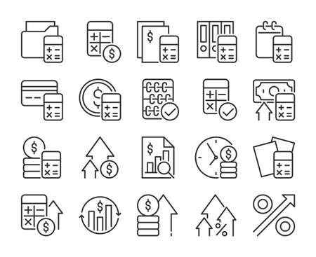 Financial planning icon. Financial planning and analysis line icons set. Editable stroke. Pixel Perfect.
