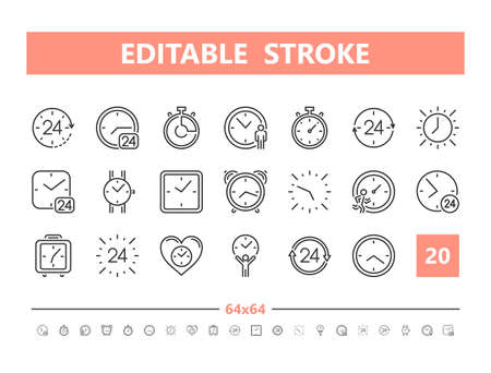 Timer 20 line icons. Vector illustration in line style. Editable Stroke, 64x64, 256x256, Pixel Perfect.