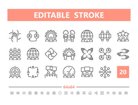 Teamwork 20 line icons. Vector illustration in line style. Editable Stroke, 64x64, 256x256, Pixel Perfect. Stock Illustratie
