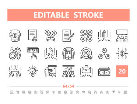 Business Start Up 20 line icons. Vector illustration in line style. Editable Stroke, 64x64, 256x256, Pixel Perfect.