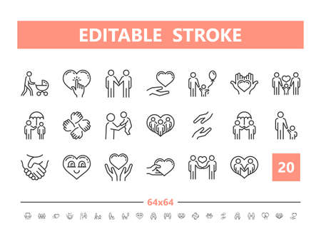 Care and attention 20 line icons. Vector illustration in line style. Editable Stroke, 64x64, 256x256, Pixel Perfect.