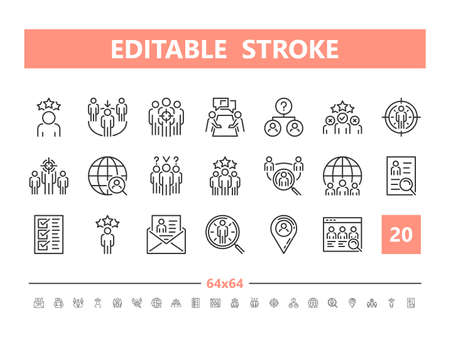 Head hunting 20 line icons. Vector illustration in line style. Editable Stroke, 64x64, 256x256, Pixel Perfect.