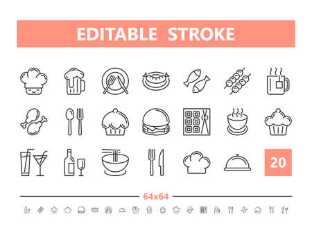 Food and drinks 20 line icons. Vector illustration in line style. Editable Stroke, 64x64, 256x256, Pixel Perfect. Stock Illustratie