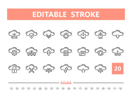 Cloud technology 20 line icons. Vector illustration in line style. Editable Stroke, 64x64, 256x256, Pixel Perfect. Stock Illustratie