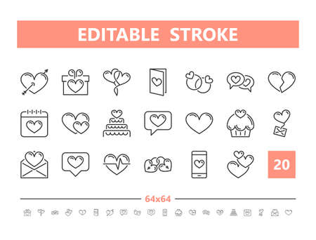 Love and romance 20 line icons. Vector illustration in line style. Editable Stroke, 64x64, 256x256, Pixel Perfect.