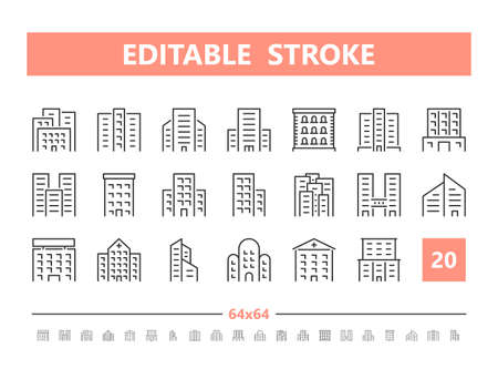 Building 20 line icons. Vector illustration in line style. Editable Stroke, 64x64, 256x256, Pixel Perfect.