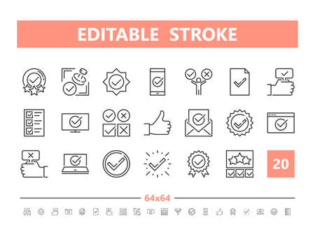 Approve 20 line icons. Vector illustration in line style. Editable Stroke, 64x64, 256x256, Pixel Perfect.