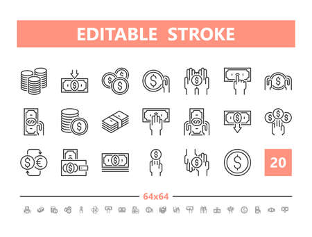 Money 20 line icons. Vector illustration in line style. Editable Stroke, 64x64, 256x256, Pixel Perfect.