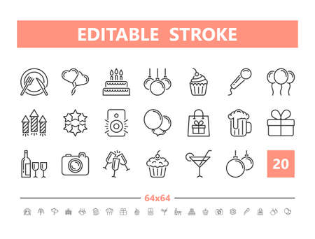 Party 20 line icons. Vector illustration in line style. Editable Stroke, 64x64, 256x256, Pixel Perfect.